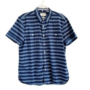 LUCKY BRAND Blue Striped Short Sleeve Button Up